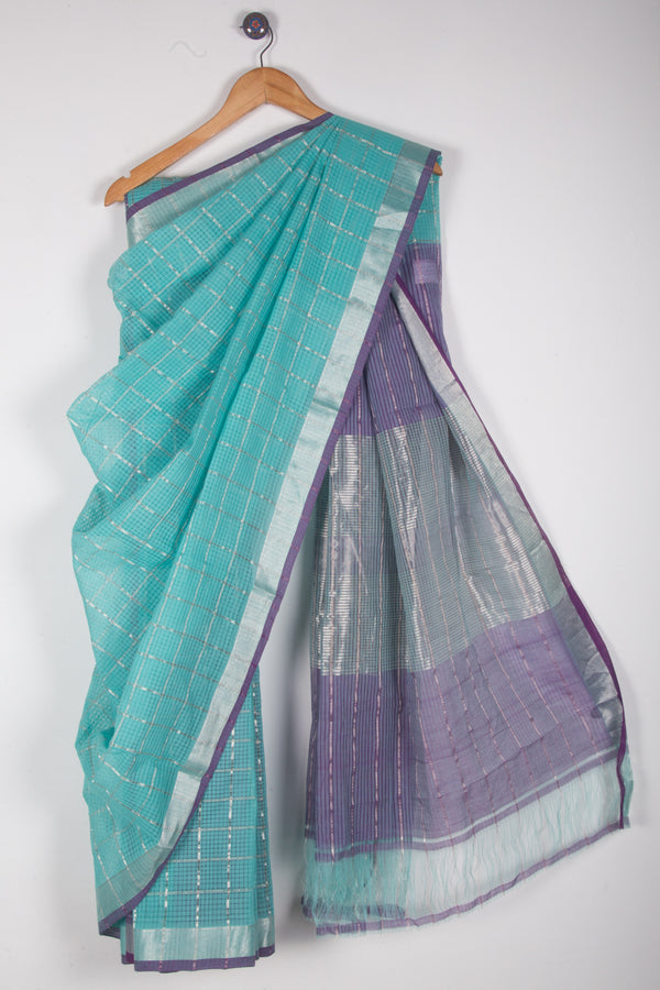 Light Peacock Blue Checkered Saree