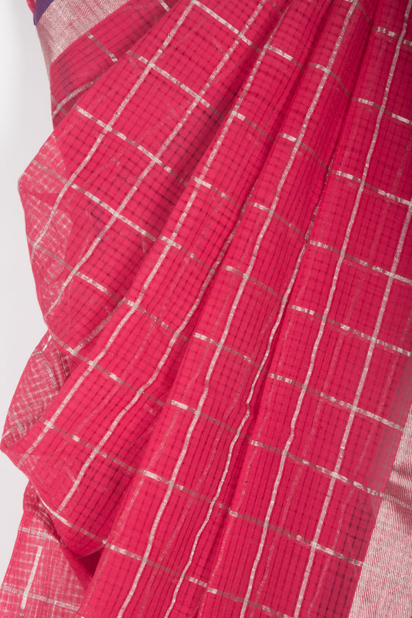 Pink Purple Checkered Saree