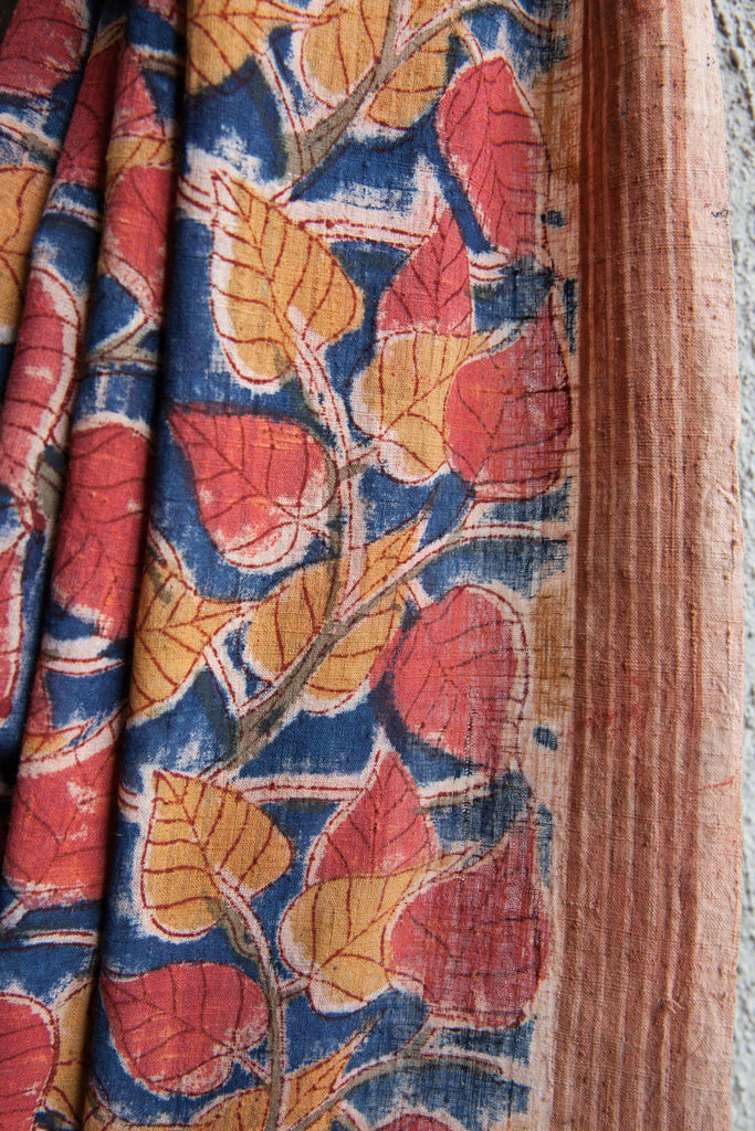 Indigo Saree with Peepal Leaves Kalamkari