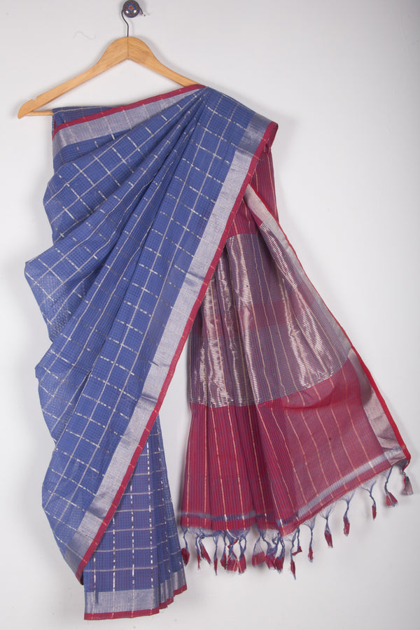 Purple Pink Checkered Saree