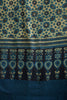 German Indigo Big Ajrakh Print (without outline) Saree