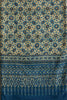 German Indigo Big Ajrakh Print (with outline) Saree