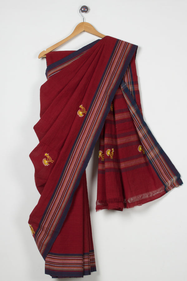 Maroon Embroidered  Saree with Stripe Border
