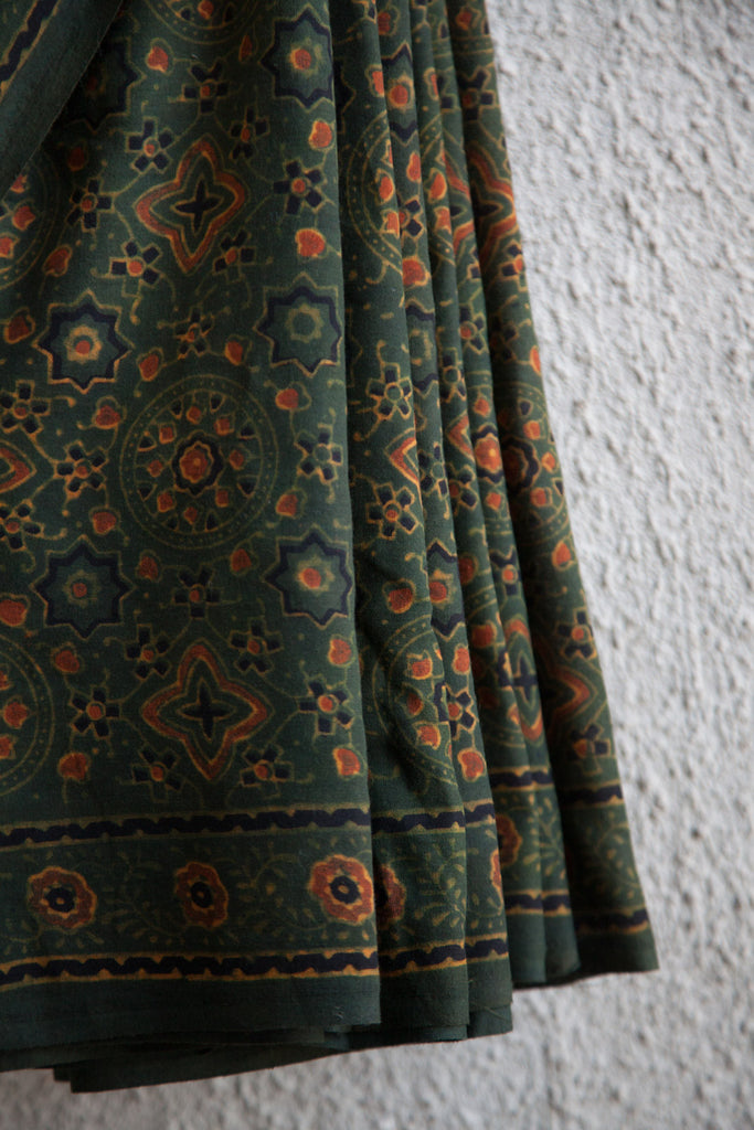Traditional Stars and Moons Green Ajrakh Saree