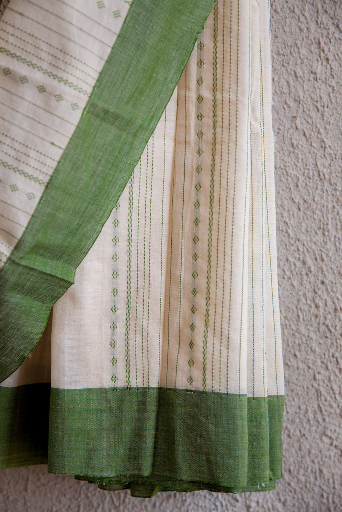 White Saree with Green Extra Weft