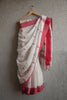 White Linen Saree with triangle motifs