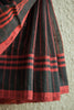 Black Saree with Red Lines