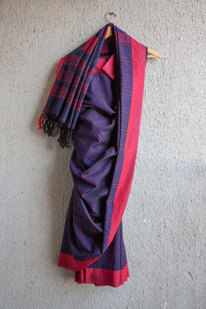 Blue Saree with Red Extra Weft