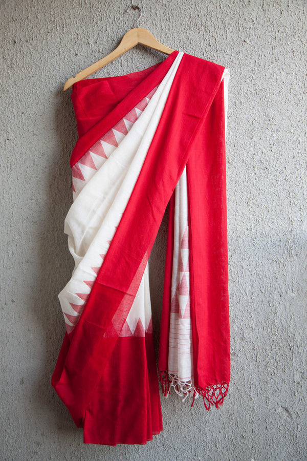 White Khadi Skirt Saree