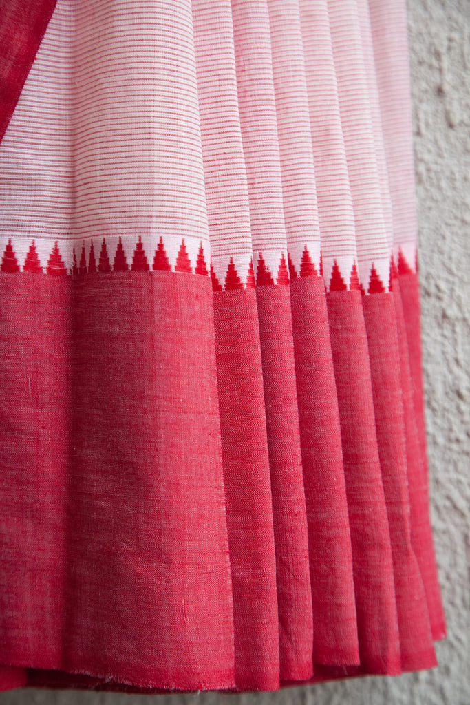Red Lines on White Saree
