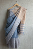 Grey Beige Linen Saree