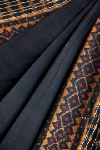 Black Saree with orange motifs