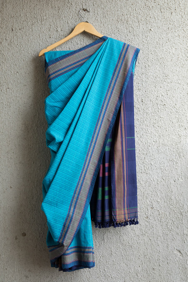 Light Blue Checkered Irkal Saree