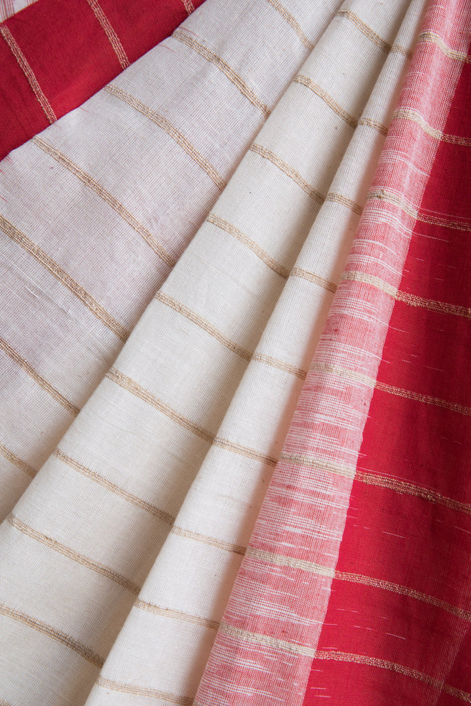 Kora Saree with Jute Lines and Laal Paar