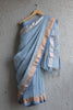 Blue Grey Linen Saree