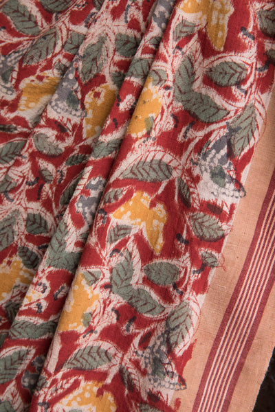 Red Kalamkari with Butterflies and Leaves