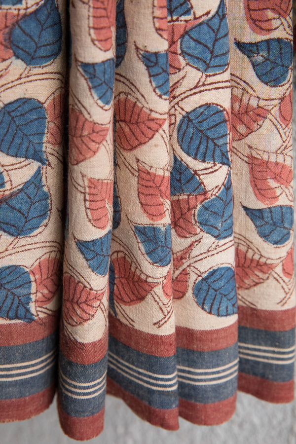 Pink Blue Peepal Leaves Kalamkari Sari