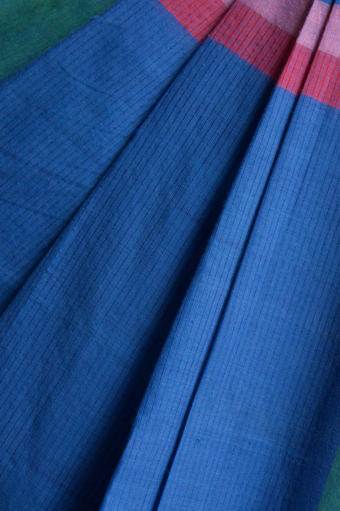 Blue Saree with Colorful Pallu