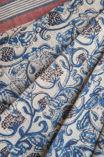 Fruit Kalamkari Print on Kora Saree