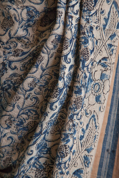 Blue Kalamkari Print on Kora Saree