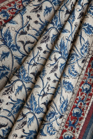 Tridax Leaves Print on Kora Saree
