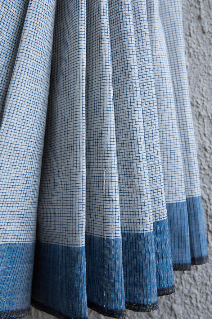 Checkered White Blue Khadi Saree