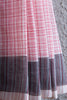 Kora Khadi Saree with Pink Checks