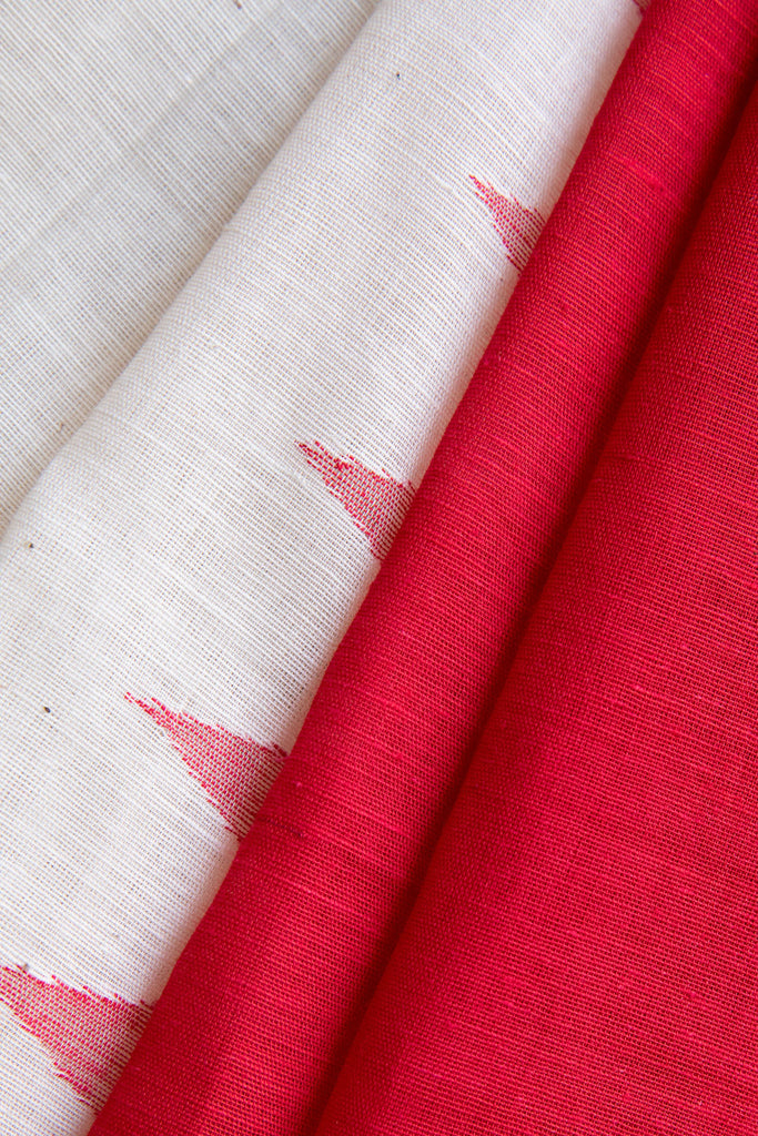 Red White Skirt Saree