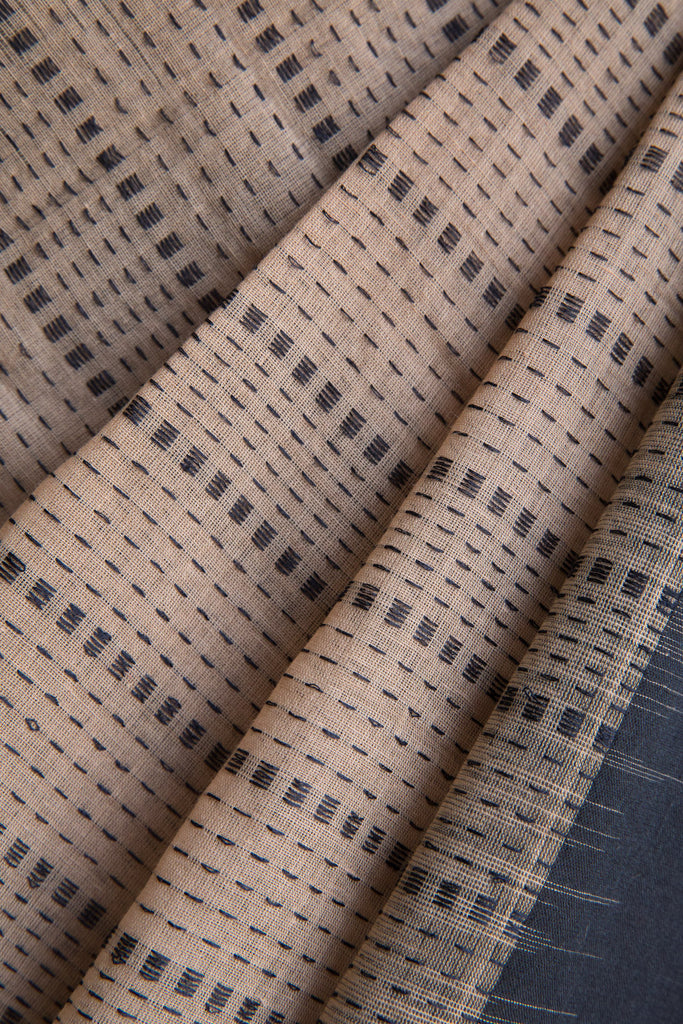 Black Beige Checkered Saree