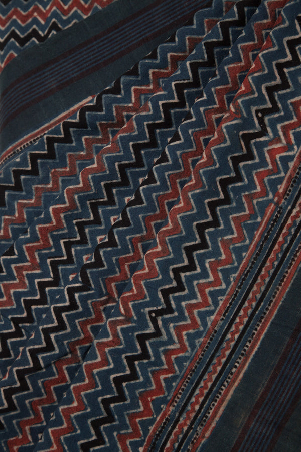 Zig Zag Ajrakh Cotton Saree