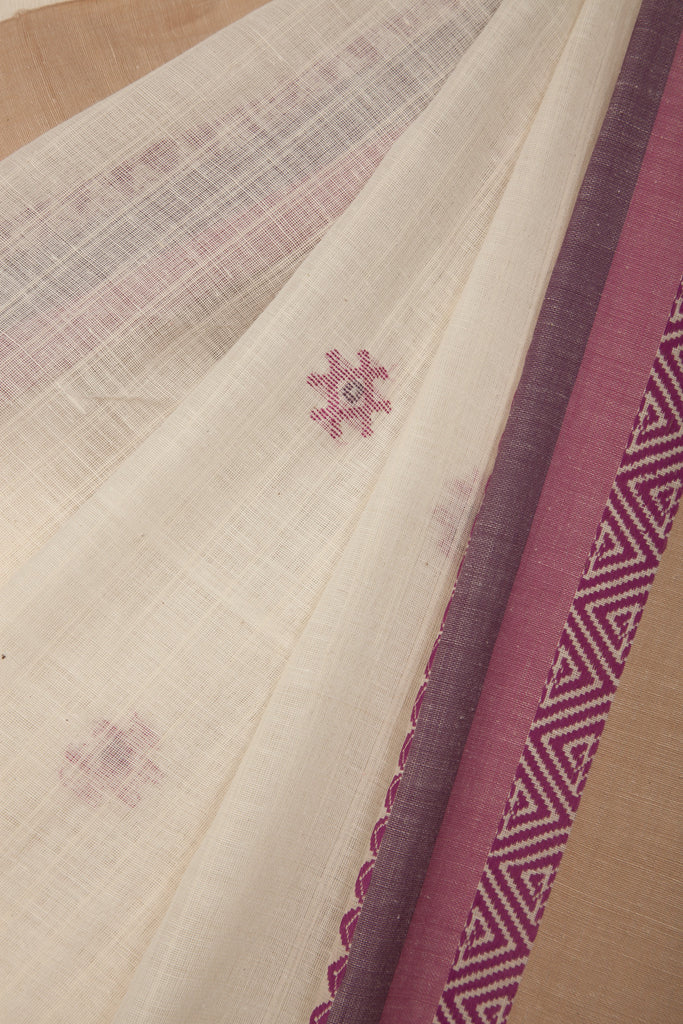 Cream Jaamdani with Pink Saree