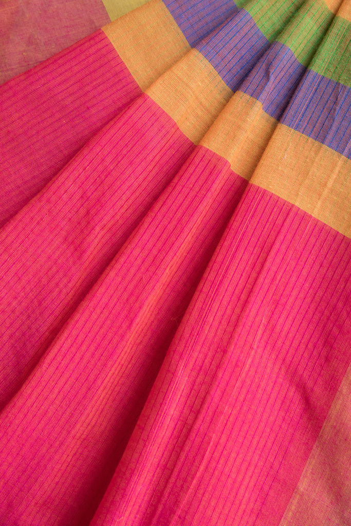 Pink Saree with Colorful Pallu