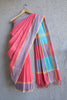 Peach Saree with Wave Border