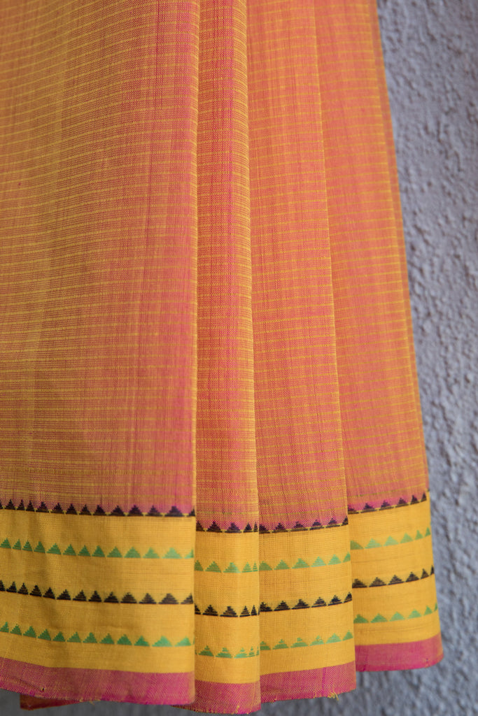 Pink Yellow Saree