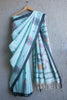 Sea Green Jaamdani Linen Saree