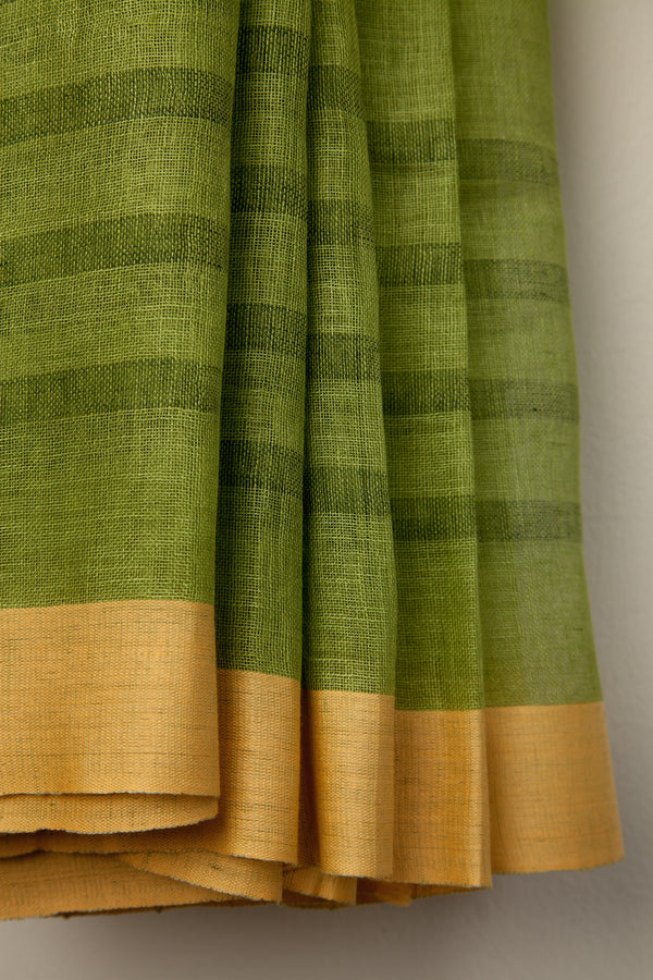 Green Linen Saree with Yellow Border
