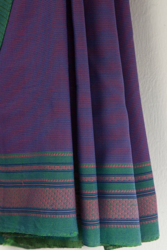Purple Checkered Saree