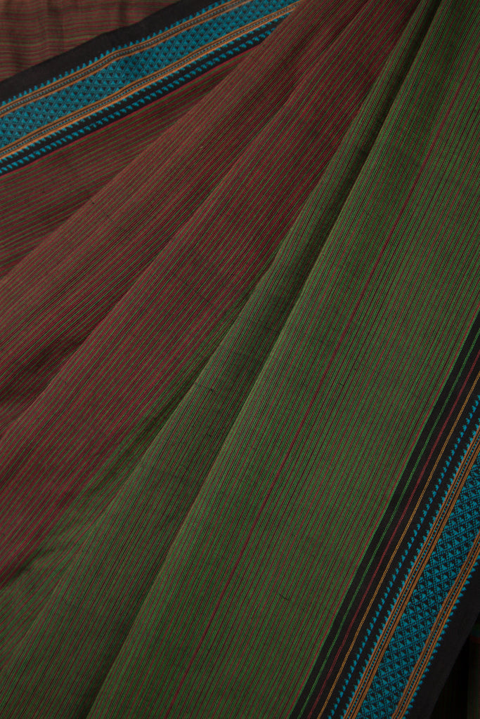 Red Green Striped Saree