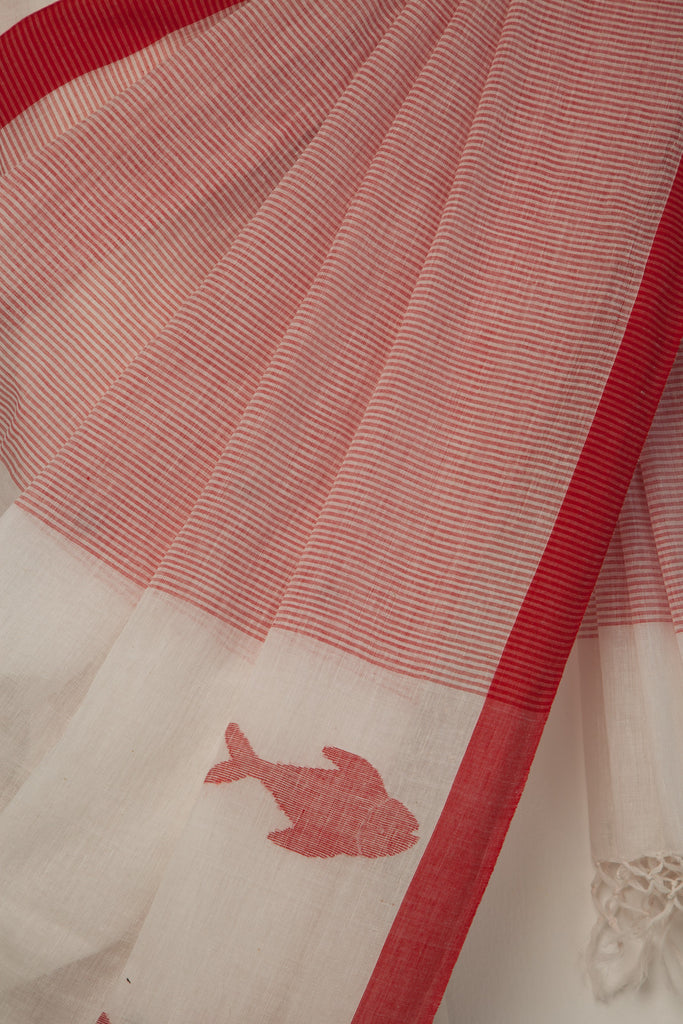 Kora Saree with Fish Jaamdani Motifs