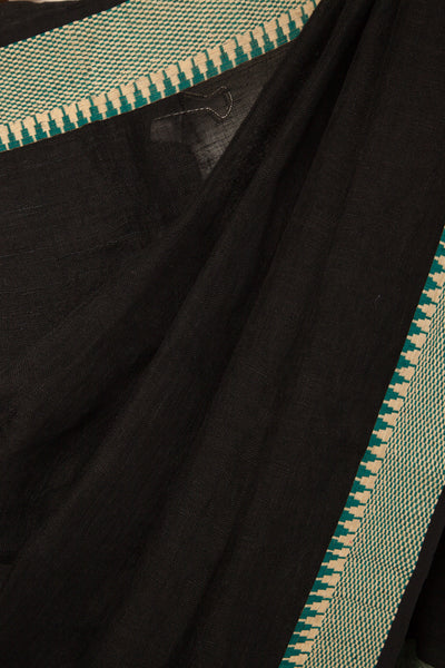Black Linen Saree with Chessboard Border
