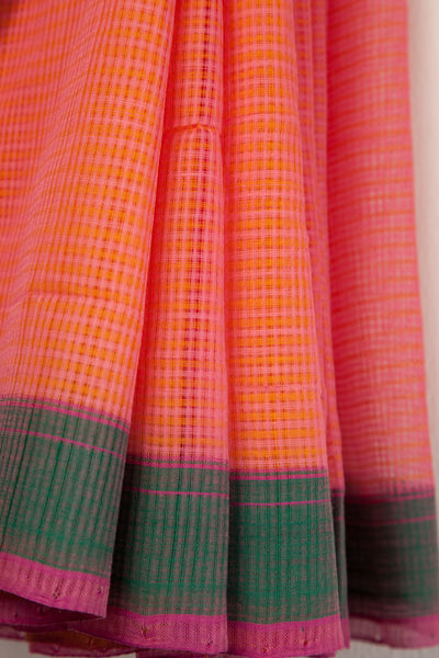 Pink Yellow Mangalgiri Saree