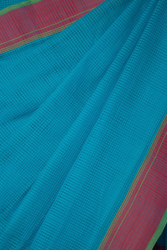 Sky Blue Missing Checks Saree