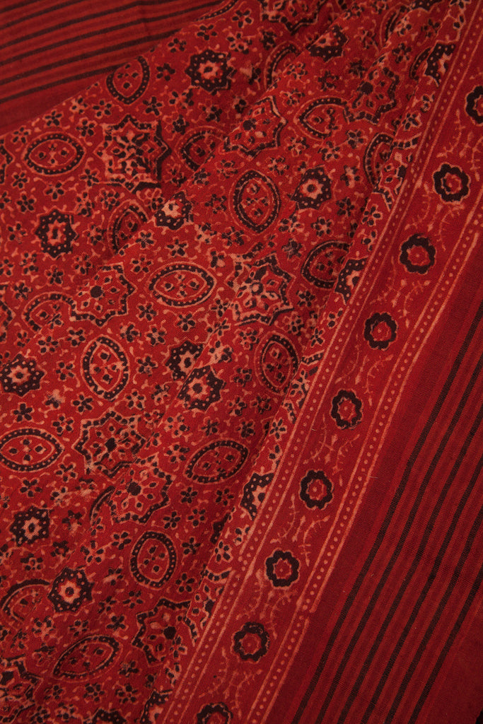 Red Ajrakh Malkha Saree