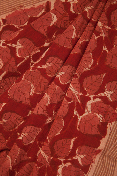 Pink Peepal Leaves on Red Saree