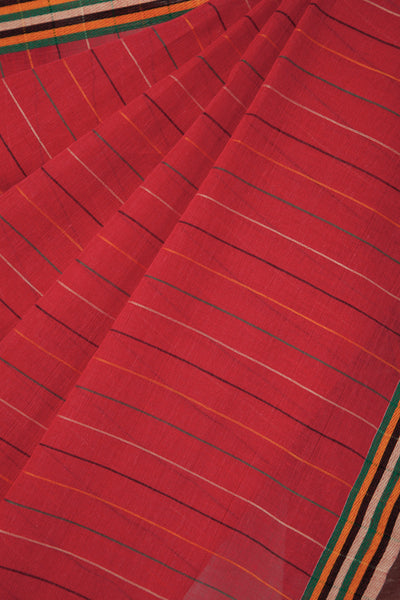 Colorful Lines on Red Saree