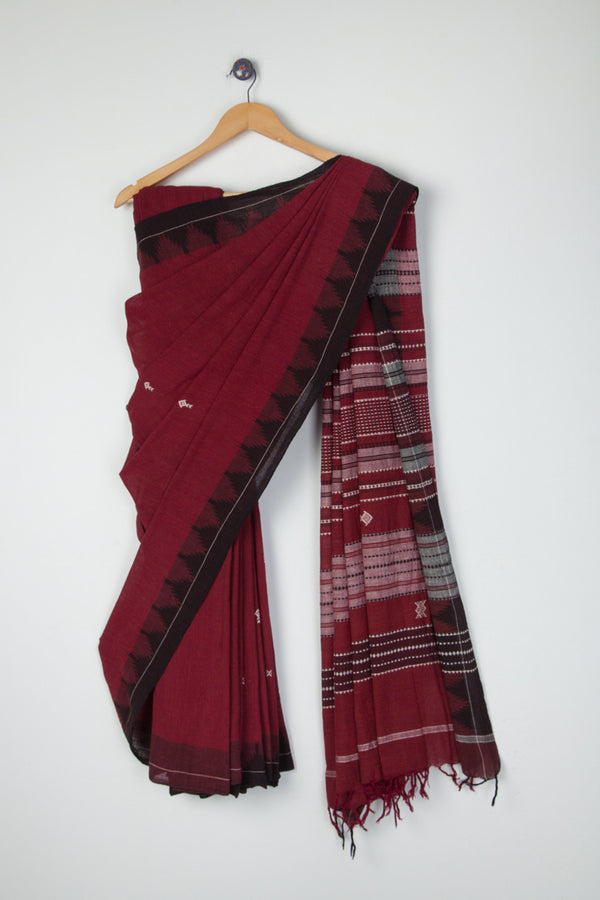 Maroon Kotpad Saree with Fish Motifs