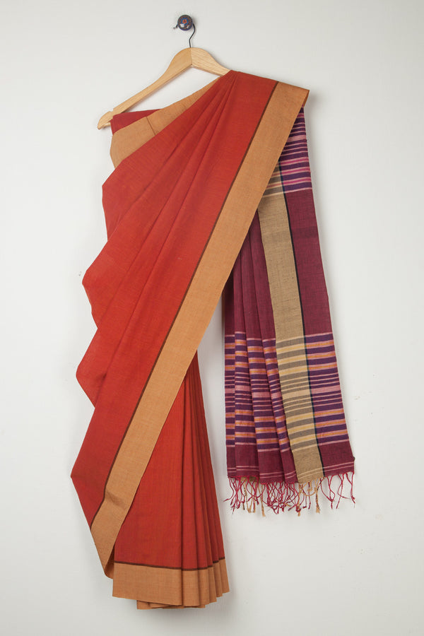 Rust Khadi Saree