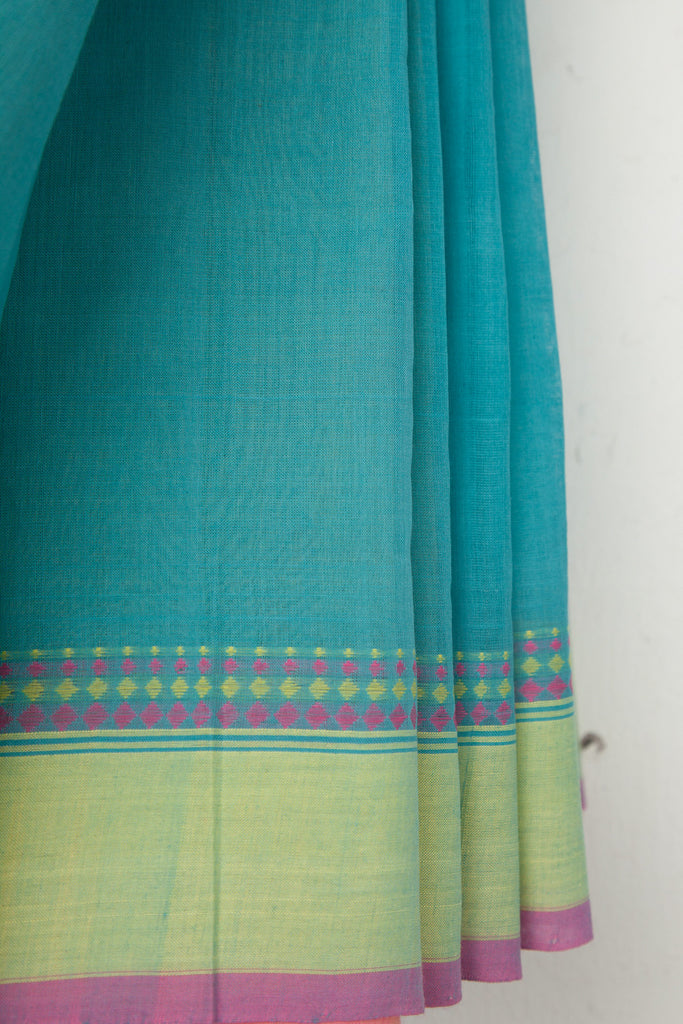 Cyan Saree with Diamond Border
