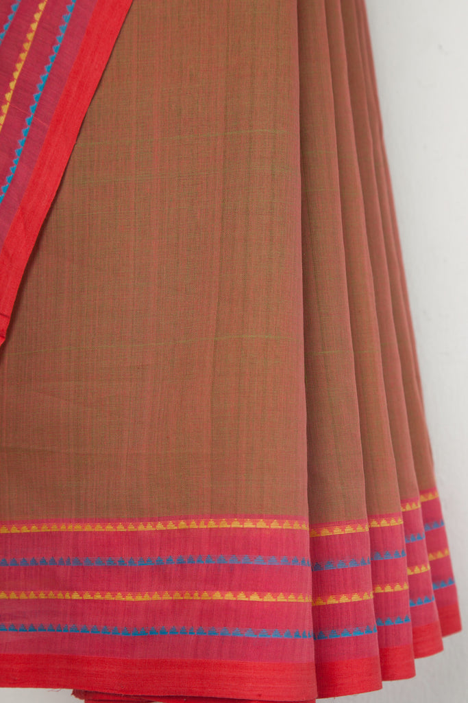 Green Red Saree with Triangle Border