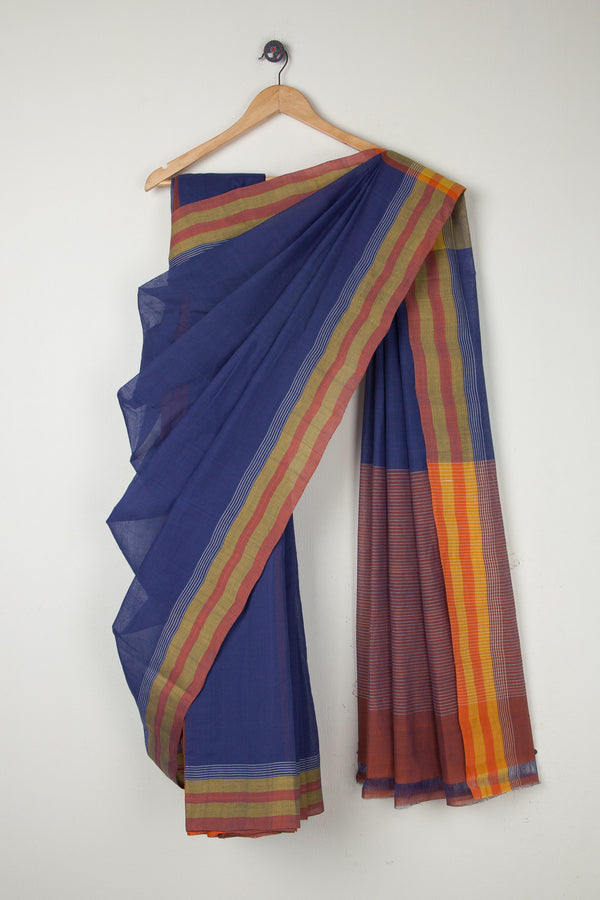 Plain Saree with Striped Border